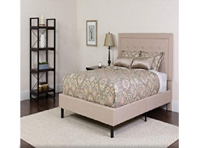 Flash Furniture Roxbury Twin Size Tufted Upholstered Platform Bed in Beige Fabric | free-classifieds.co.uk