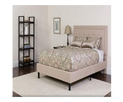 Flash Furniture Roxbury Twin Size Tufted Upholstered Platform Bed in Beige Fabric