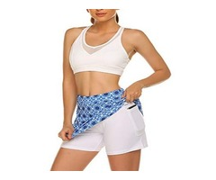 Ekouaer Women Double Layer Skorts with Underneath Short Running Golf Tennis Gym Skirts Mesh Pockets