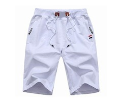 Big Boy's Casual Shorts Summer Cotton Classic Fit Elastic Waist Shorts with Zipper Pockets