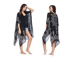 Moss Rose Women's Beach Cover up Swimsuit Kimono Cardigan with Bohemian Floral Print   free-classifieds.co.uk