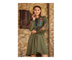 WOMEN'S EMBROIDERED KHAKI TUNIC