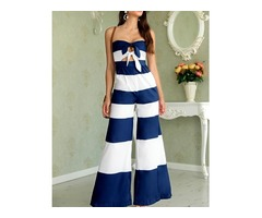 Contrast Striped Sweetheart Tied Cutout Front Jumpsuit