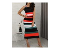 Contrast Striped Button Side Bodycon Dress