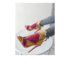 Multi-strap Contrast Color Caged Heeled Sandals
