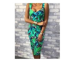 Palm Leaf Print Button Through Bodycon Dress