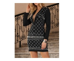 Beading Deep V Cocktail Party Dress