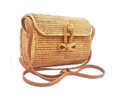 Handwoven Long-Oval Rattan Bag Made In Vietnam – Natural Stylish & Chic – Shoulder Real Leather