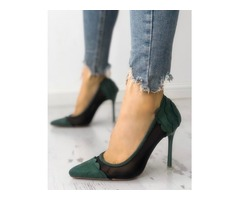 Mesh Splicing Scallop Trim Thin Heeled Sandals