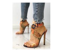 Ethnic Transparent Crisscross Thin Heeled Sandals
