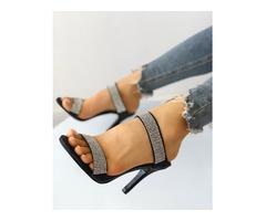Shiny Embellished Thin Heeled Sandals