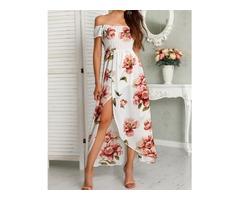 Floral Print Shirring Off Shoulder Slit Maxi Dress