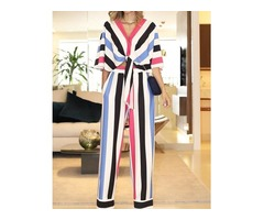 Contrast Stripes Knotted Top  Long Pants Sets