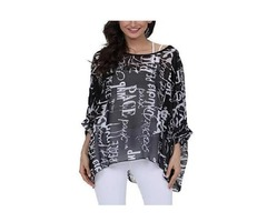 Ckikiou Plus Size Summer Tunics Blouses For Women Batwing Loose Chiffon Shirts Tops