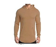 EVERWORTH Men's Gym Workout Long Sleeve Hoodies Training Pullover Casual Hooded Sweatshirt