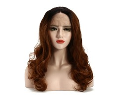 """22"""" Lace Front Wigs Gold Ombre Bob Two Tone Wave Wig"""