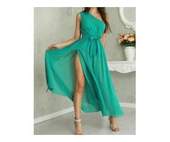 One Shoulder Tie Waist High Slit Maxi Dress