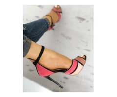 Colorblock Ankle Strap Thin Heeled Sandals