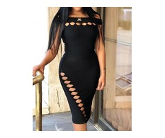 Solid Off Shoulder Cut Out Detail Bodycon Dress