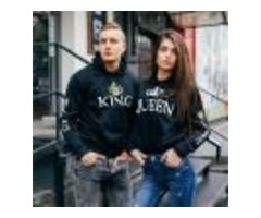 POSHFEEL 2018 KING QUEEN PRINTED COUPLE HOODIES WOMEN MEN