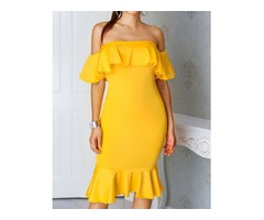 Sexy Flared Off Shoulder Bodycon Dress