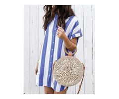 Contrast Stripes Button Through Casual Dress