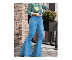 Stretch Exaggerate Fringes Hem Flared Jeans