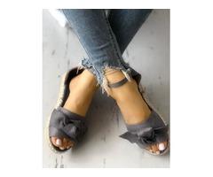 Bowknot Embellished Espadrille Flat Sandals