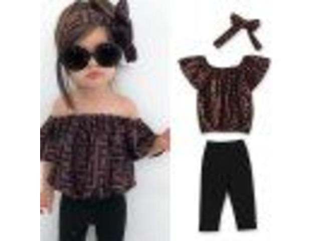 2020 BABY GIRL CLOTHES SUMMER TRACKSUIT FOR CHILDREN CLOTHING GIRLS SETS T-SHIRT+BROKEN HOLE JEANS K | free-classifieds.co.uk