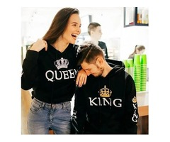 KING QUEEN PRINTED COUPLE HOODIES