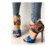 Ethnic Style Open Toe Thin Heeled Sandals