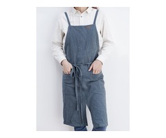 Solid Color Belted Pockets Linen Cotton Vintage Apron Dress