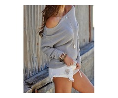Solid Off Shoulder Casual Sweater