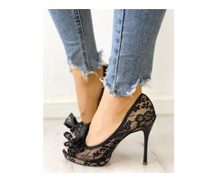 Bowknot Peep Toe Lace Thin Heeled Sandals