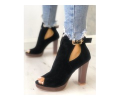 Solid Suede Peep Toe Buckled Chunky Heels | free-classifieds.co.uk