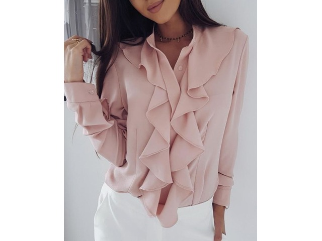 Solid Ruffles Design Long Sleeve Casual Blouse | free-classifieds.co.uk