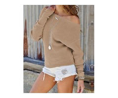 Solid Off Shoulder Casual Sweater | free-classifieds.co.uk