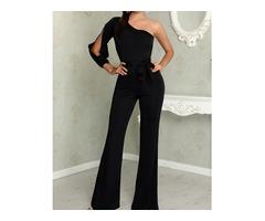 Stylish One Shoulder Slit Sleeve Black Jumpsuit | free-classifieds.co.uk