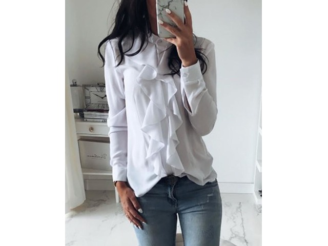 Solid Ruffles Design Long Sleeve Casual Blouse   free-classifieds.co.uk