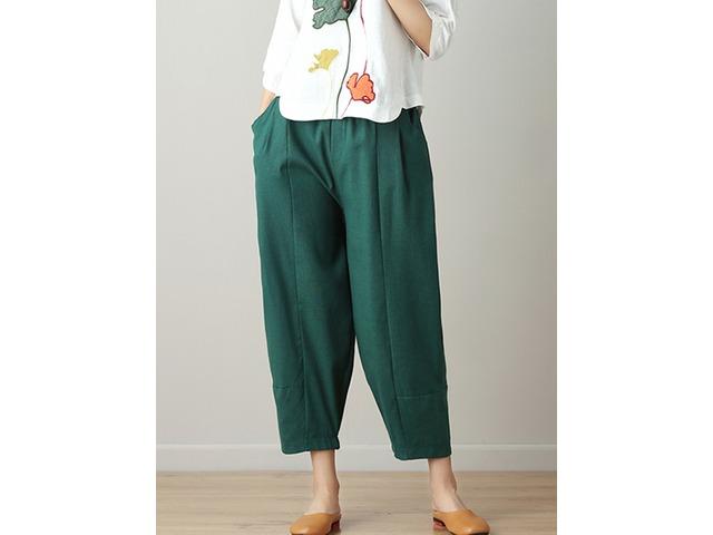 Women Loose High Elastic Waist Pure Color Pants   free-classifieds.co.uk