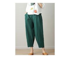 Women Loose High Elastic Waist Pure Color Pants
