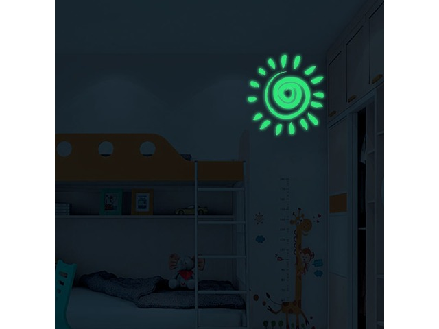 Miico Creative Cartoon Sun Pattern Luminous PVC Removable Home Room Decorative Switch Door Decor Sti | free-classifieds.co.uk
