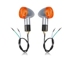 Chrome Bullet Mini Universal Motorcycle Amber Turn Signal Lights Bulb Indicator