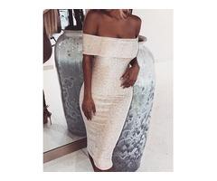 Sparkle Fold Over Off Shoulder Bodycon Dress