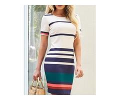 Contrast Color Splicing Striped Casual Dress