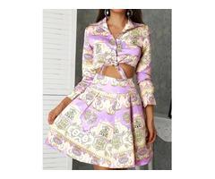Ethnic Print Tie Shirt  Pleated Skirt Sets