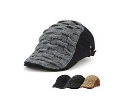 Unisex Acrylic Knitted Beret Hat Buckle Paper Boy Weaving Cabbie Gentleman Visor Cap For Men Women