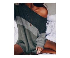 Contrast Color Skew Neck Long Sleeve Sweater