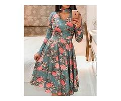 Floral Print Choker Cutout Casual Dress