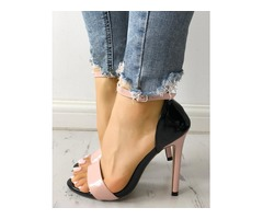 Contrast Color Two Part Thin Heeled Sandals